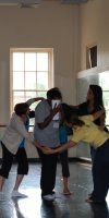 Alice Boucher World Language Academy teachers learning to integrate dance with English language arts at the 2010 ICI Professional Development Institute.