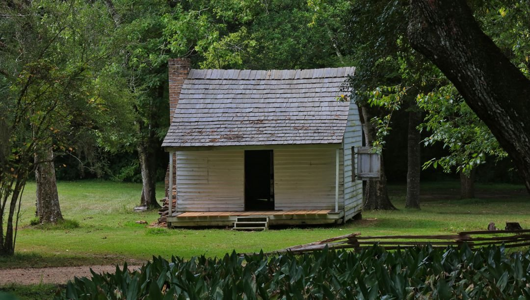 Cabins of the plantation's enslaved people