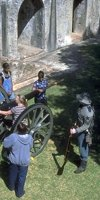 Cannon firing for visitors