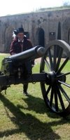 'Jean Lafitte' poses with a fort cannon