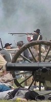Confederate troops holding the port (re-enactment)