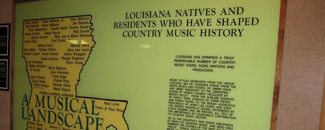Museum display on Louisiana country music artists