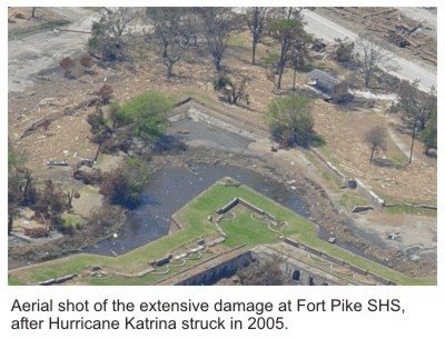 Aerial image of Hurricane Katrina damage to Fort Pike State Historic Site.