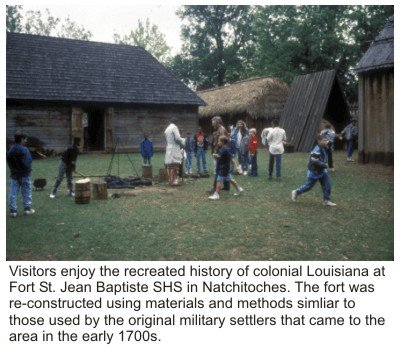History reenactment at Fort St. Jean Baptiste State Historic Site.