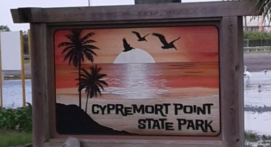Cypremort Point State Park sign
