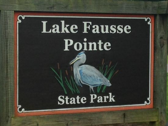 Lake Fausse Pointe State Park sign