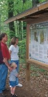 Informational kiosk on the nature trail