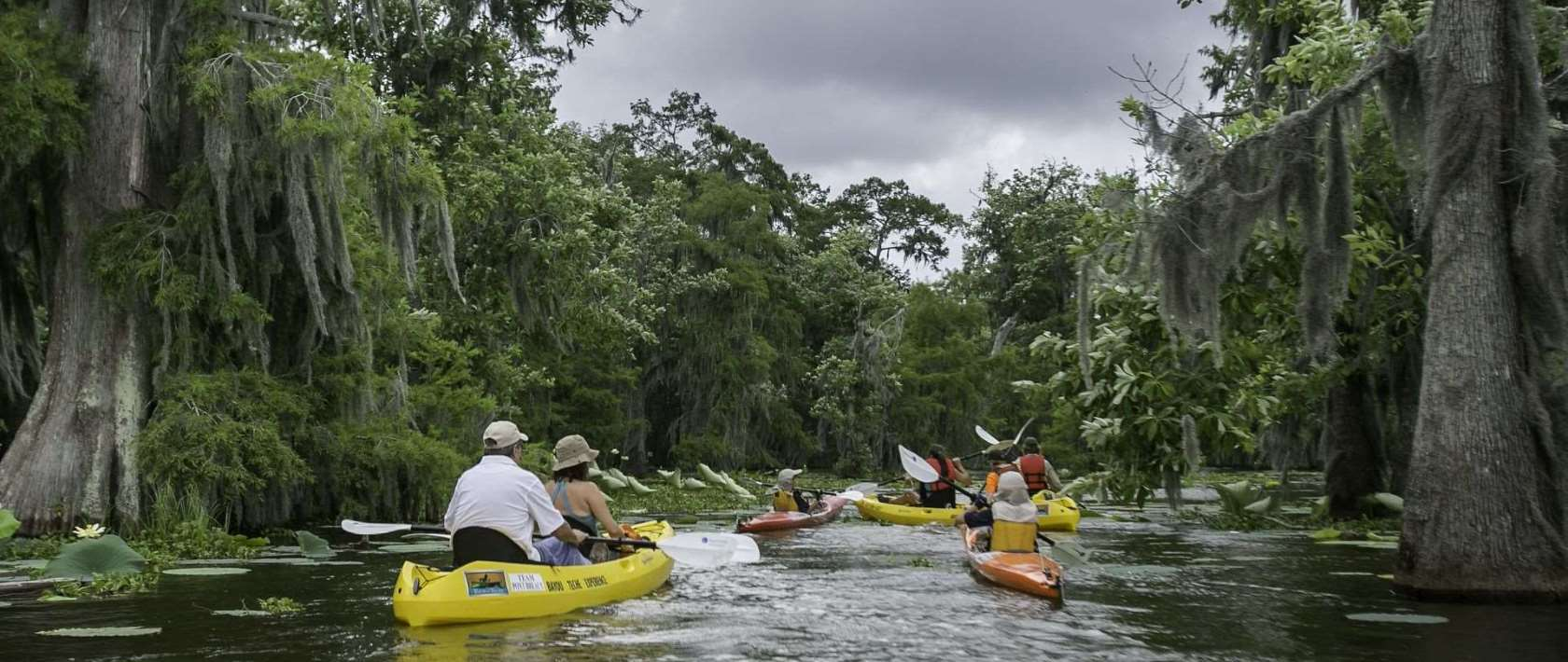 Kayaking through a waterway in the Atchafalaya Basin
