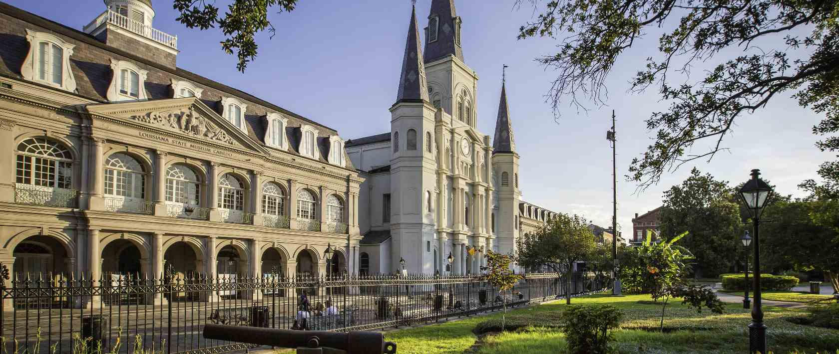 The Cabildo and Presbytère buildings viewed from Jackson Square in New Orleans